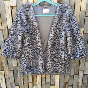 Woman's faux fur jacket cardigan small medium Lush
